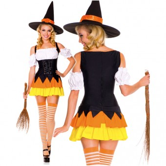 Sexy Naughty Seductive Three Piece Puff Sleeves Cy Corn Dress w/ Hat Thigh Hi Halloween Costume