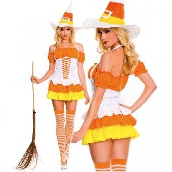 Sexy Naughty Seductive Three Piece Halter Cy Corn Dress w/ Hat Thigh Hi Halloween Costume