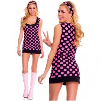 Sexy Flirty 70s Style Sexy Flirty 70s Style Two Piece Polka Dot Go-go Dress w/ Headband