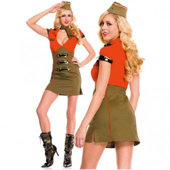Hot Vixen Three Piece Deep V Neck Pencil Cut Dress w/ Hat Scarf Costume Cosplay Halloween