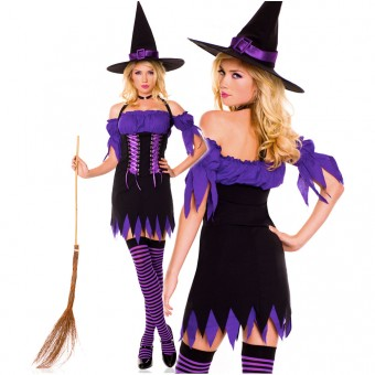 Three Piece Halter Witch Dress w/ Off Shoulder Sleeves Front Lace Up Details w/ Hat Thigh Hi Costume