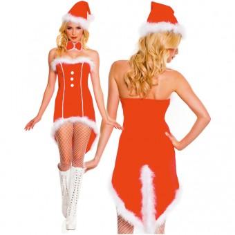 Four Piece Long Back w/ Slit Tuxedo Marabou Trimmed Santa Dress w/ Hat Bow Tie Pantyhose
