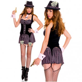 Sexy Flirty Classic Sexy Flirty Classic Six Piece Gangster Top Skirt w/ Hat Tie Cuffs Thigh Hi
