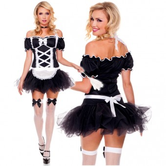 Hot Seductive Four Piece Frisky Maid Dress w/ Choker Apron Feather Duster