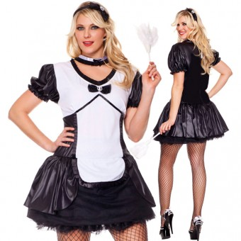 Four Piece Cameo Dress w/ Attached Tutu w/ Headband Choker Feather Duster