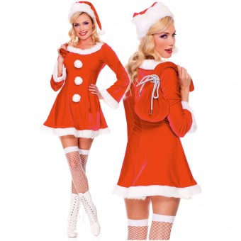 Fun Sexy Three Piece Long Sleeve Marabou Trimmed Sleigh Hottie Dress w/ Santa Sack Hat