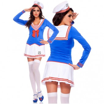 Naughty Sexy Flirty Three Piece Long Sleeve Pleated Skirt Sailor Set w/ Hat Halloween Costume Cosplay