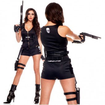 Six Piece Women's Terminator Scoop Neck Romper w/ Glasses Biker Gloves Cartridge Belt Belt w/ Holster
