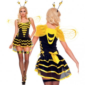 Four Piece Sweetheart Neckline Dress Attached Burlesque Style Skirt w/ Antenna Wings Daisy Thigh Hi