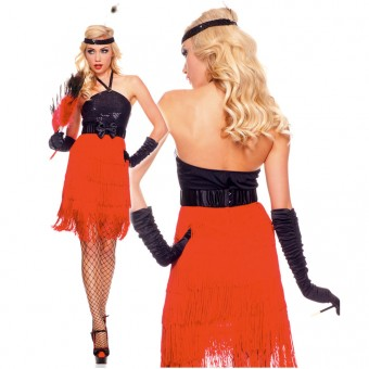 Sexy Classic Four Piece Sequined Halter Dress w/ All Around Fringe w/ Belt Headband Gloves