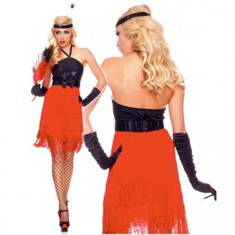 Sexy Classic Four Piece Sequined Halter Dress w/ All Around Fringe w/ Belt Headband Gloves