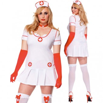 Five Piece Nurse Ruffled Trimmed Neck w/ Head Piece Choker Gloves Thigh Hi (Bag Not Included)