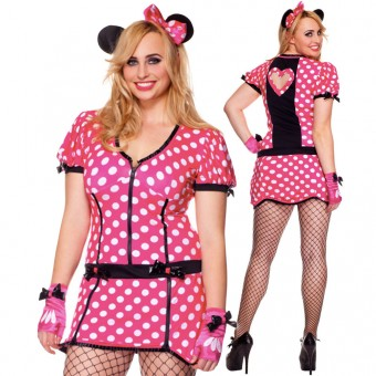 Fun Flirty Cute Three Piece Zip Front Mouse Dress w/ Heart Cut Out Back w/ Gloves Mouse Ears
