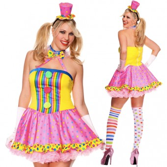 Sexy Fun Party Colorful Four Piece Circus Cutie Clown Dress w/ Gloves Hat Thigh Hi Costume