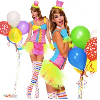 Sexy Fun Party Colorful Four Piece Clown Tutu Dress w/ Gloves Hat Thigh Hi Costume Cosplay