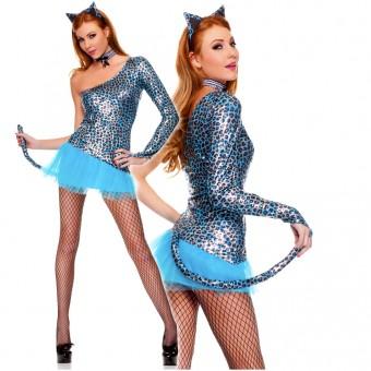 Sexy Flirty Fun Three Piece Electric Blue Venus Cut Dress w/ Attached Tail Choker Ears