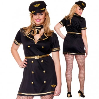 Three Piece Flight Attendant Pencil Cut Dress w/ Gold Trim w/ Gold Belt Bow Choker Hat