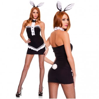 Playful Sexy Flirty Two Piece Bare Back Shoulder Dress w/ Ears Costume Cosplay Halloween
