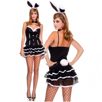 Four Piece Bunny Faux Fur w/ Sequined Trimmed Top Burlesque Style Skirt w/ Choker Bunny Ears
