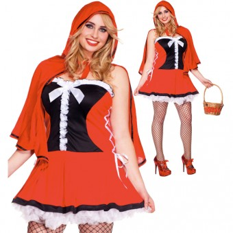 Two Piece Red Lace Up Side Pleated Red Hot Riding Hood Dress w/ Hooded Cape (Basket Not Included)