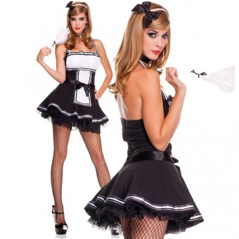 Four Piece Halter Maid Dress w/ Bow Ribbon Trim w/ Headband Choker Feather Duster