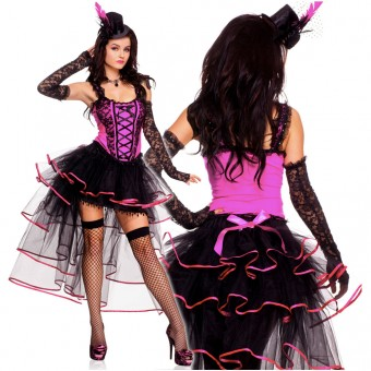 Seductive Three Piece Burlesque Corset Top Multi Layered Long Back Ribbon Trimmed Skirt