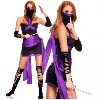 Five Piece Ninja Halter Dress w/ Waist Sash Face Mask Ripped Arm Band Thigh Hi (Sword Not Included)