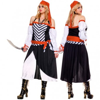 Three Piece Halter Neck Pirate Dress w/ Head Scarf Waist Sash (Sword Necklace Not Included)