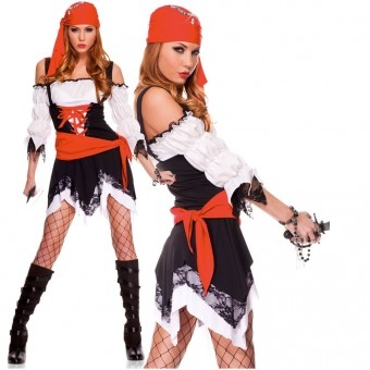 Three Piece Jagged Hem Pirate Dress w/ Head Scarf Waist Sash (Sword Bracelet Not Included)