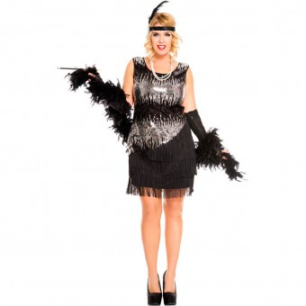 3 pc. Plus size asymmetrical sparkly silver and black sequin fringe dress