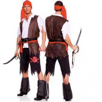Six Piece Buccaneer Men's Pirate Set w/ Head Scarf Shirt Vest Tattered Pants Waist Sash Belt