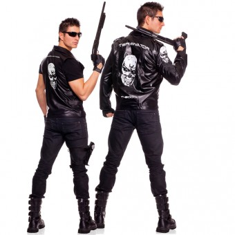 Three Piece Men's Terminator Jacket w/ Authentic Looking Men's Motorcycle Jacket w/ Logos glasses Gloves