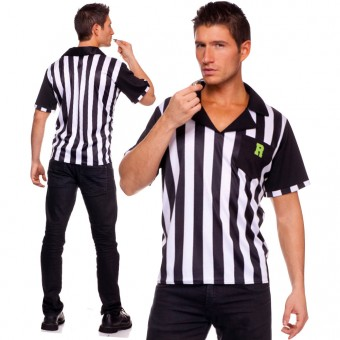 Playful Sexy Fun Two Piece Men's Collared Referee Shirt w/ Whistle Halloween Costume Cosplay