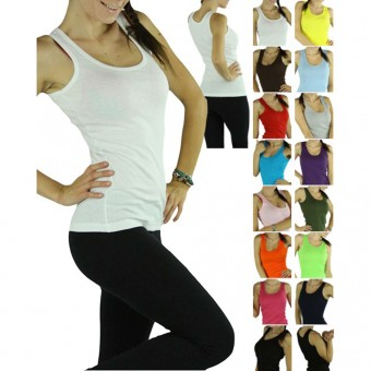 A High Quality 100% Cotton Women's Ribbed Tank Top A-Shirts Exercise Yoga