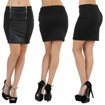 Faux Leather Moto Mini Skirt