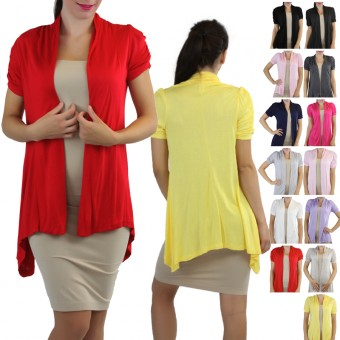 Ruched Cap Sleeve Cardigan Sweater