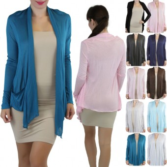Long Sleeve Open Front Cardigan Sweater With Pockets
