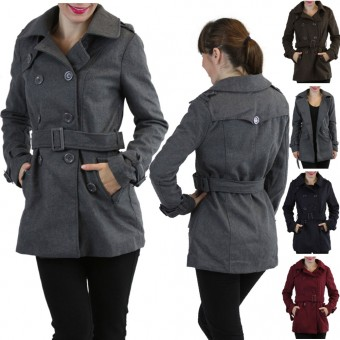 Double Breasted Military Style Trench Coat