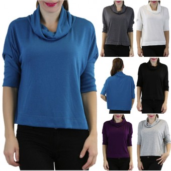 3/4 Sleeve Cowlneck Relaxed Fit Cropped Sweater