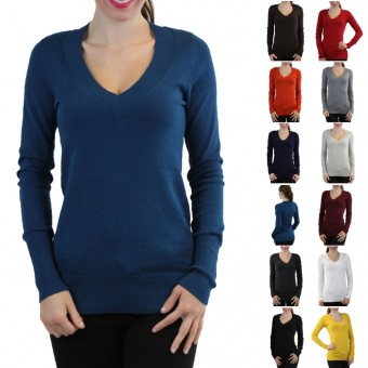 ToBeInStyle Luxurious Long Sleeve Knit V-Neck Sweater Available in Plus Sizes
