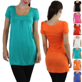 Long Scoop Neck Tunic Dress With Cap Sleeves