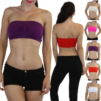 Seamless Padded Bandeau With Removable Cups