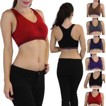 Striped Seamless Padded Racerback Sports Bra - One Size