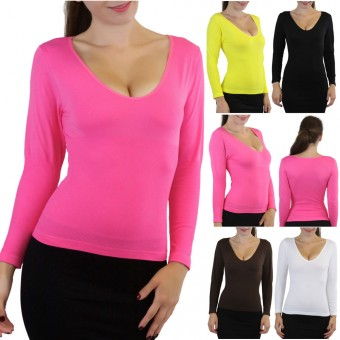 Soft Long Sleeve V-Neck Seamless Slimming Top