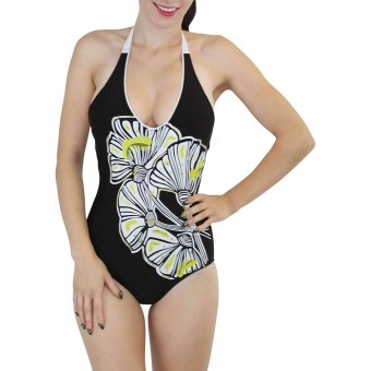 One Piece Floral Printed Scoop Backless Monokini