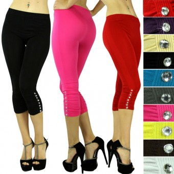 Sexy Seamless Ruched Opaque Rhinestone Capri Cropped Legging Pants - One Size
