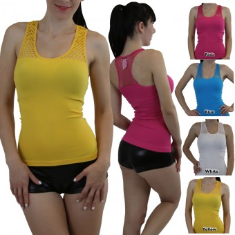 Seamless Fishnet Racerback Tank Top - One Size