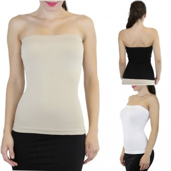 Pack of 3 Seamless Ribbed Strapless Slimming Layer Tube Top - 3PACK - One Size