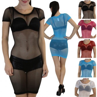 CapSleeve Seamless Fishnet Dress