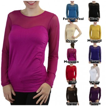 Long Sleeve Seamless Top With Mesh Sweetheart Neck Line